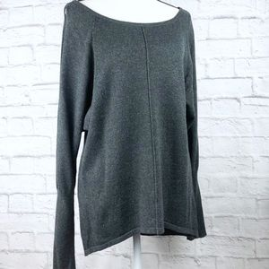 H by Halston Gray Cutout Sleeve Scoop Neck Sweater